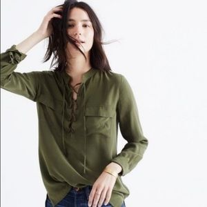 Madewell Silk Lace Up Blouse Olive Green Medium
